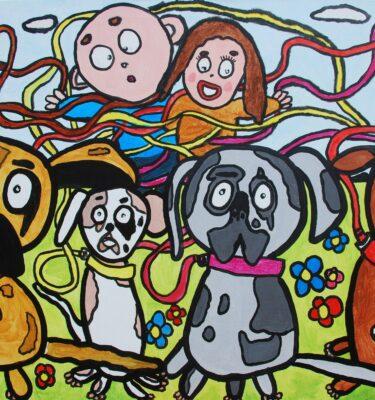 De hondenschool 80x120cm Gemaakt in opdracht
