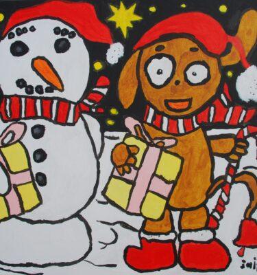 De hulphond van de kerstman 50x50cm_mini