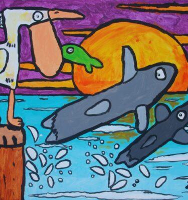 Moeder en kind dolfijn 60x80cm_mini