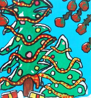 Schilderijen, Picassovis, Jaïr, kerst, kerstboom