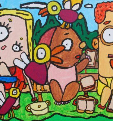 Picnicken in het park 60x80cm_mini