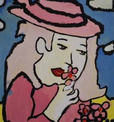 Roze mevrouw