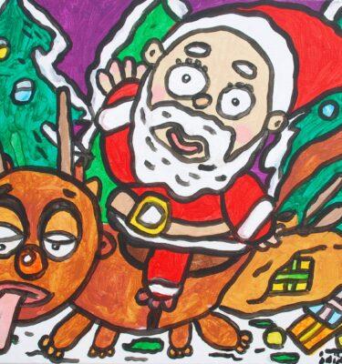 Rudolf is kapot. `Koop eens een slee Kerstman!' 'Ho, ho, ho, rustig aan vriend! Een slee is heel duur hoor!', zegt de Kerstman_mini