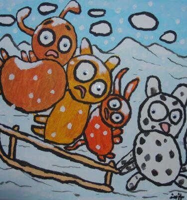 Schilderijen, Picassovis, Jaïr, honden, sneeuw