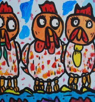 Picassovis, kunst, kippen, boerderij, Jaïr Maarsen